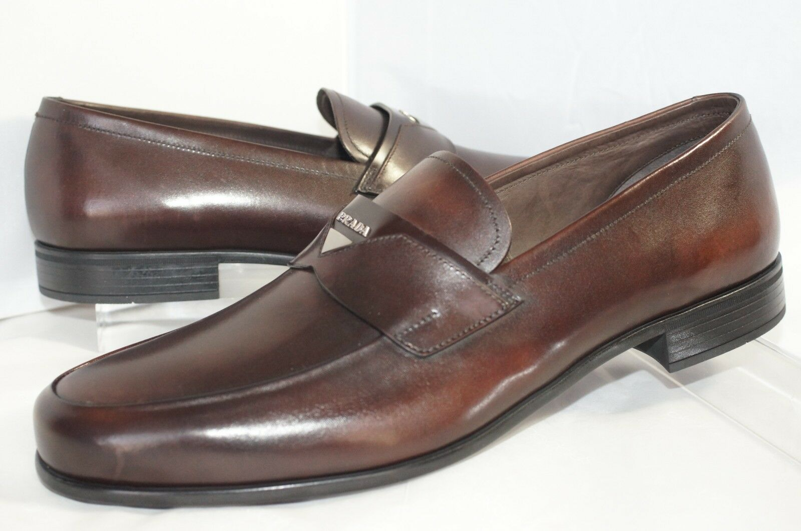 5bb8caf0422 PRADA Men s Shoes Loafers Size 10 Calzature Uomo Drivers Brown Gift for  sale online