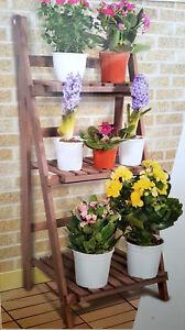 Blumentreppe-Pflanzentreppe-Holz-Blumenregal-Blumenstander-Blumenbank-Leiter-NEU