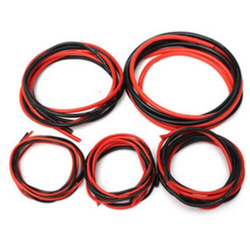 1m Red 12-20 AWG Gauge Silicone Wire Flexible Stranded Cables for RC 1m Black