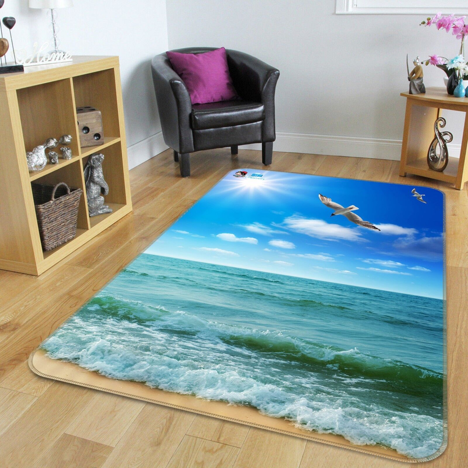 3D Waves Sea Pigeon 25 Non Slip Rug Mat Room Mat Quality Elegant Carpet UK Cobb