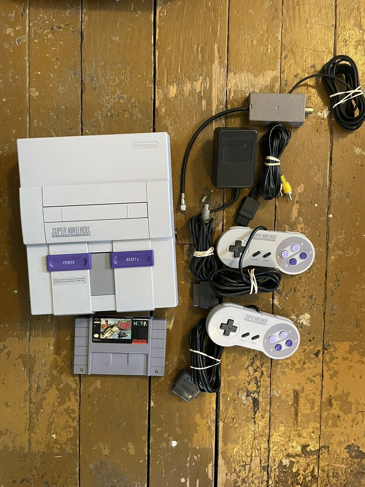 Super Nintendo SNES System Console 2 OEM Controllers Authentic Game Included on eBay thumbnail