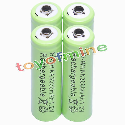 4x Long Life AA 3000mAh 1.2V Ni-MH Rechargeable Battery Batteries, Project, MP3