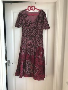 Monsoon-Cotton-And-Silk-Mauve-And-Cerise-Floral-Print-Dress-Casual-Size-8