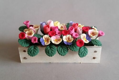 Dollhouse Miniature 1:12 Multi-colored Flowers in Window Box