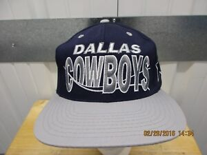 VINTAGE NFL DALLAS COWBOYS BLUE GREY SEWN 90s SNAPBACK CAP HAT DS  04d25a45f