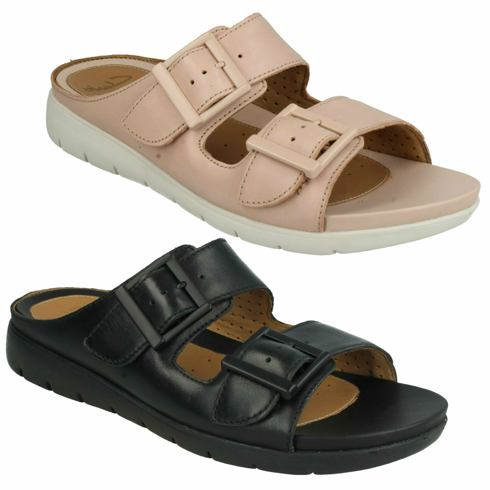 Último gran descuento UN HARLA LADIES CLARKS UNSTRUCTURED BUCKLE BEACH MULES LEATHER SUMMER SANDALS