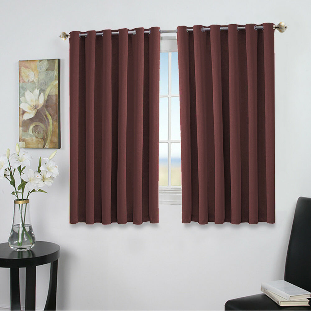 Curtains For Small Windows: Pair Of Eyelet Thermal Insulated Blackout Curtains For