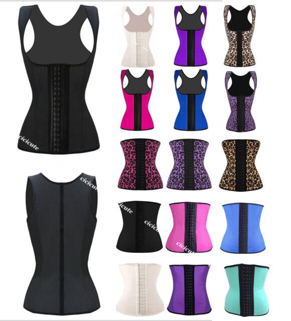Womens Latex Rubber Waist Trainer Cincher Underbust Corset Body Shaper Shapewear