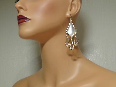 Alexis Bittar Elements Silver Lucite Triple Drop Chandelier Earrings.***NEW*****