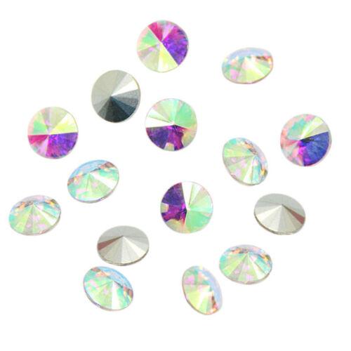 Color 15pcs XILION ELEMENTS Crystal Glass Rivoli Loose Beads À faire soi-même 14 mm Bluelans