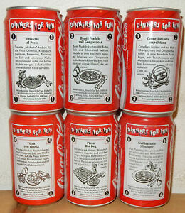 1991 COCA COLA 6 cans DINNERS FOR FUN set from GERMANY (33cl)