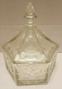 Hexagon-Frosted-Glass-Candy-Dish-Eagle-Insignia-Stars-Tiara-Coniel-Lid