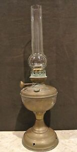 Vintage-Gold-Color-Brass-Base-Metal-Oil-Lamp-Hurricane-Style-Country-Farm