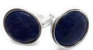 Men's Jewelry Engagement & Wedding Blue Sodalite And Silver Cufflinks Manufacturers Direct Pricing