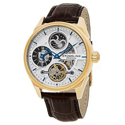 Stuhrling Original Men's 657.04 Special Reserve Automatic Brown Leather Watch