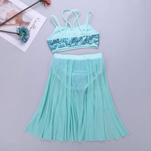 Girl/'s Lyrical Dance Dress Floral Sequins Leotard Mesh Skirts Gymnastic Costumes