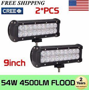 2X-54W-9-inch-LED-Work-Light-Bar-Flood-Lights-Fog-Driving-Offroad-SUV-4WD-Truck