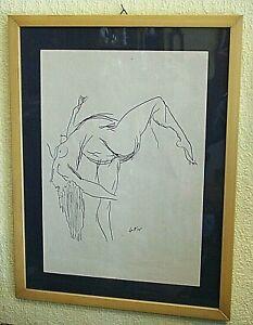 DISEGNO-a-CHINA-su-carta-034-Nudo-Femminile-034-di-RENATO-GUTTUSO-1911-1987