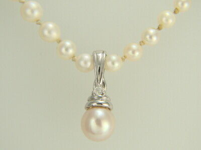 14Kt 14K White Solid Gold Pearl Enhancer Pendant with Diamonds