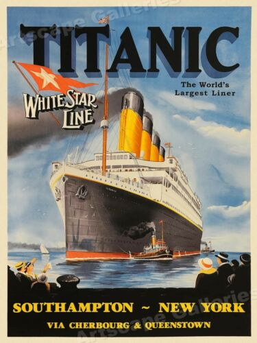 18x24 1912 Titanic White Star Line Vintage Style Travel Poster