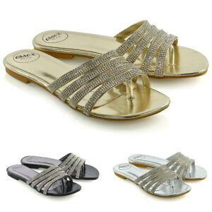 Para-Mujeres-Zapatos-Con-Tiras-Deslizante-Damas-Flip-Flop-Brillante-Diamante-Sandalias-Toe-Post