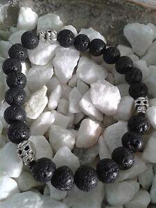 Armband-Lava-schwarz-Totenkopf-Perlen-Silber-Maenner-Biker-Spirit-Maskulin