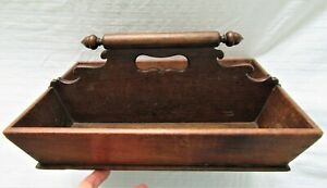 ANTIQUE-CARVED-WOOD-DOVETAIL-KNIFE-CUTLERY-BOX-TRAY-CADDY-COUNTRY-PRIMITIVE