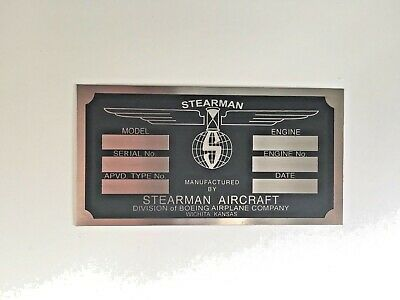 Piper Aircraft DEA Required Arcft Identification Data Plate Etched Stainless