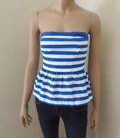 Abercrombie Strapless Striped Tube Top Womens Size Xs Kids Size Xl Blue