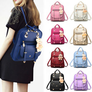 5b2d979cf3fb Women Girls PU Leather Rucksack Lady Bag Shoulder Travel Backpack ...