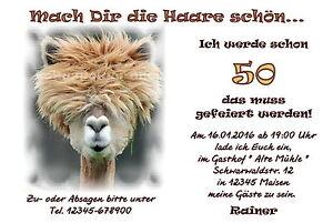 Das Bild Wird Geladen 50 Lustige Tierische Einladungskarten Geburtstag  Einladungen Haare Schoen