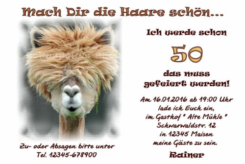 40 Drôles Animaux Cartes Invitation Anniversaire Invitations Chaque âge Lama