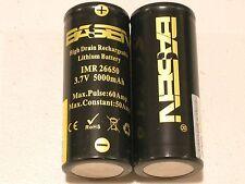 2 BASEN IMR 26650 HIGH DRAIN 50A / 60A 5000mAh RECHARGEABLE BATTERY 3.7v  w/case