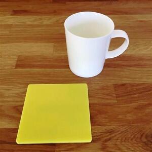 """De Forme Carrée Jaune Vernis Acrylique Coasters, Ensembles De 4, 6 Ou 8, 10.5 Cm 4""""-afficher Le Titre D'origine Garantie 100%"""