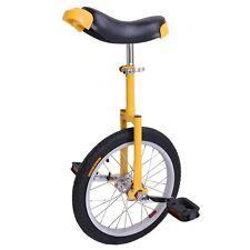 """16"""" Wheel Uni-Cycle Butyl Tire Height Adjustable Unicycle Cycle Yellow Exercise"""