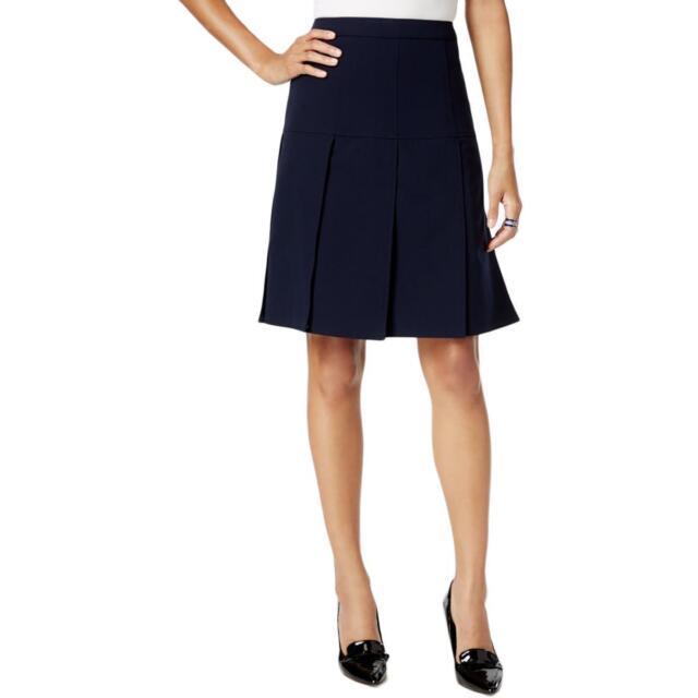 bbda6e09f Tommy Hilfiger Womens Navy Drop Waist Pleated Twill A-Line Skirt Size 10 $79