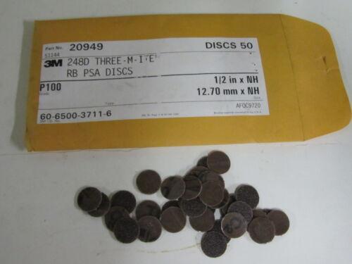 """50 pcs 3M 1//2/"""" No Hole P100 248D RB PSA Stick On Sanding Abrasive Discs 20949"""