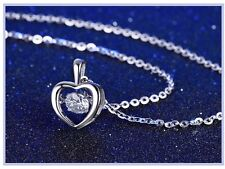 Sterling Silver Floating Dancing Zirconia Stone Heart Frame Pendant Necklace A7