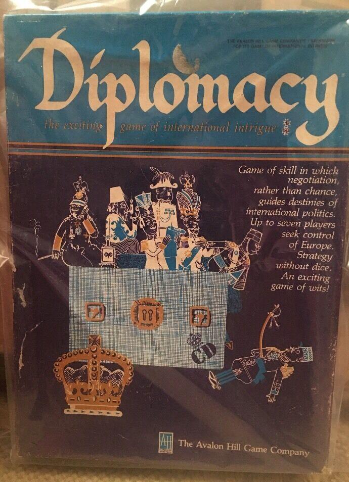 DIPLOMACY spel of International Intrigue Avalon Hill c.1976.Har aldrig spelats
