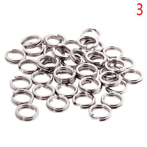 50Stk //pack Fishing Solid Stainless Steel Snap Split Ring Tackle Connector Pro