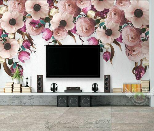 Pink Flower Blossom Removable Wall Mural Sticker Wallpaper Home Decor Art Gift