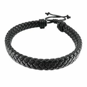 Fashion-Men-Women-Leather-Bracelet-Bangle-Cuff-Rope-Black-Surfer-Wrap-Adjustable