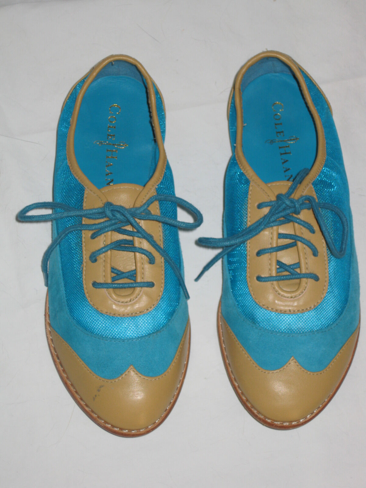 Cole Haan Kody Tan Oxfords Turquoise Suede & Tan Kody Leder and Mesh Lace Up Größe 5.5B 128a0f