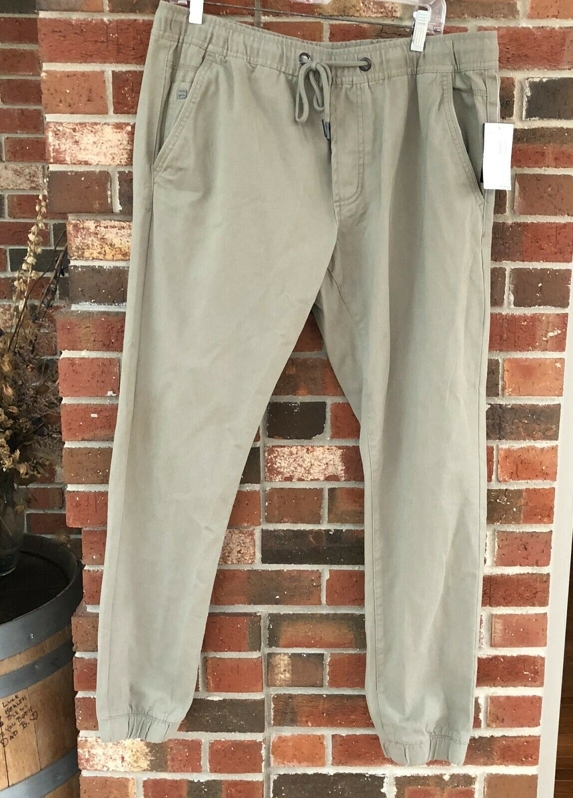 Buffalo David Bitton Zayne Slim Comfort Stretch Khaki Sage Jogger Sz 34 NEW