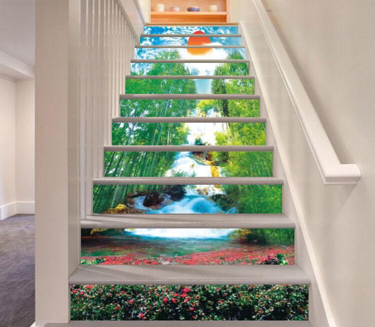3D rouge Bamboo vert Stair Risers Decoration Photo Mural Vinyl Decal Wallpaper CA