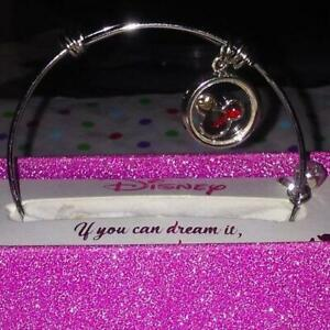 Details about DISNEY MICKEY MOUSE FLOATING RED/BLACK CRYSTAL CHARM  BRACELET**NEW!**1 LEFT!!!