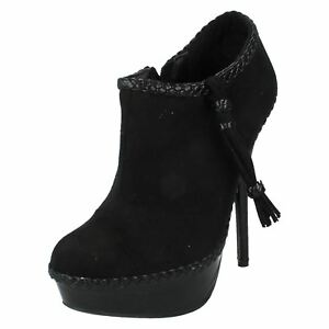Spot-On-F5R769-Ladies-Black-Synthetic-Suede-Platform-Ankle-Boots-R9B