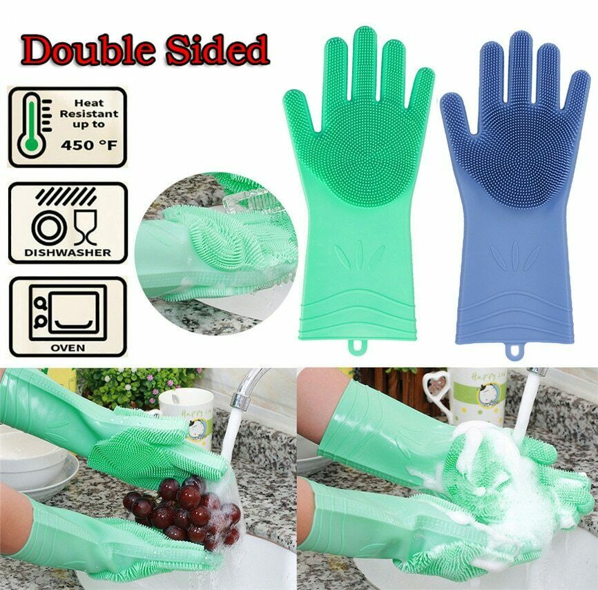 1Pair Silicone Rubber Dish Washing Gloves Magic Scrubber Cleaning Brush Kitchen 6
