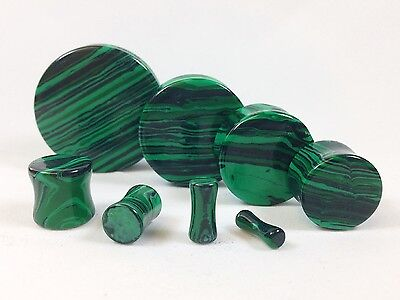 PAIR Green Malachite Stone Plugs Gauges - up to 38mm available!