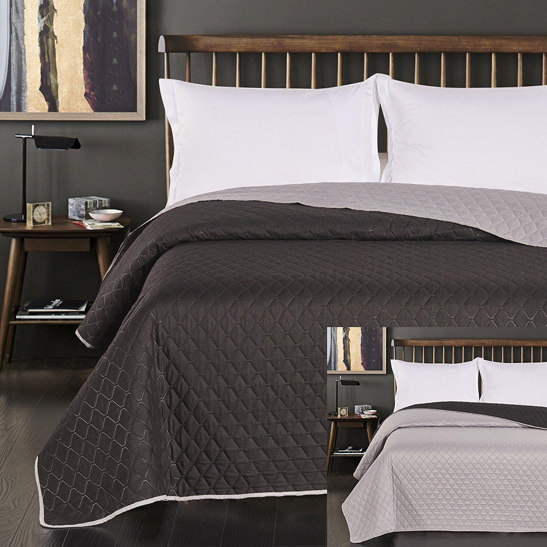 Luxury Anthracite Grey Lightweight Bedspread Comforter Throw Size 260 x 280 cm